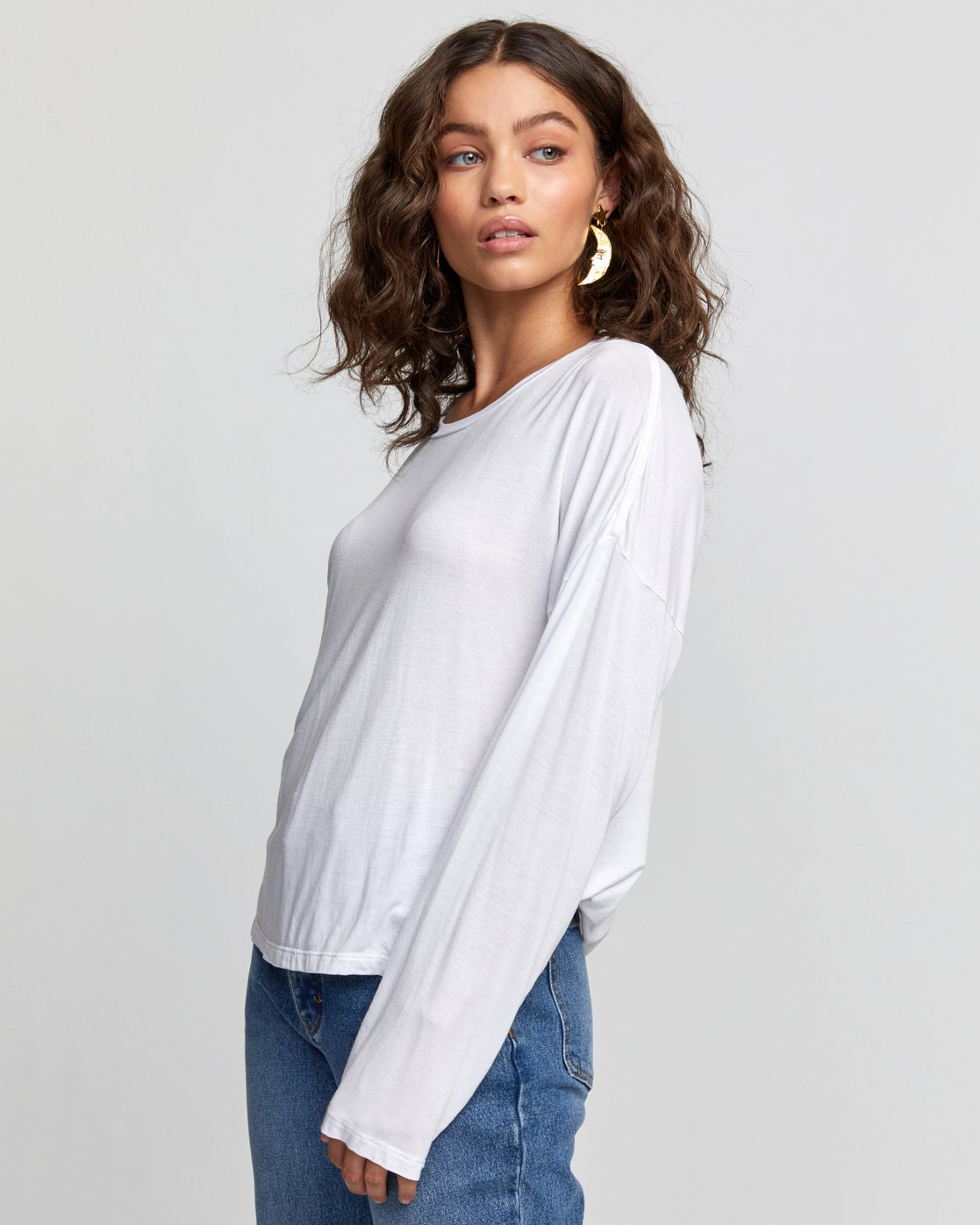 2 COUNTDOWN LONG SLEEVE TOP White W9073RCO RVCA