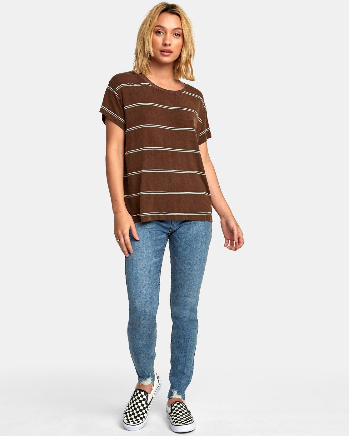 6 Recess 2 Knit T-Shirt Brown W907VRR2 RVCA
