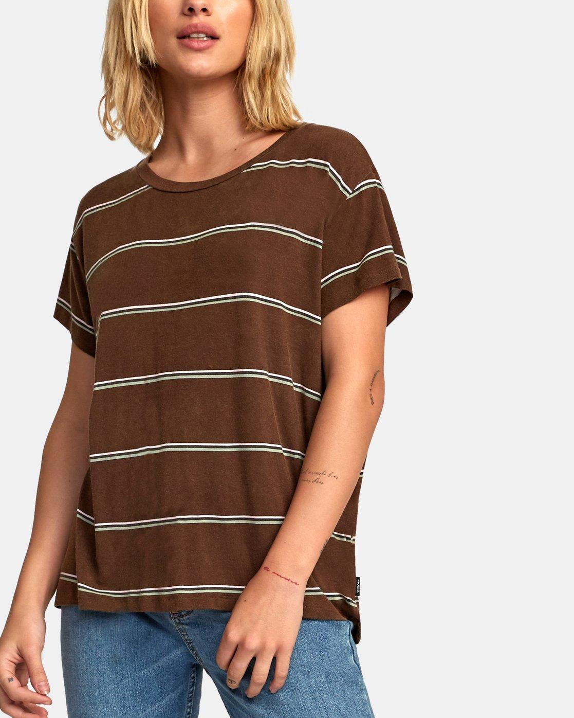 5 Recess 2 Knit T-Shirt Brown W907VRR2 RVCA