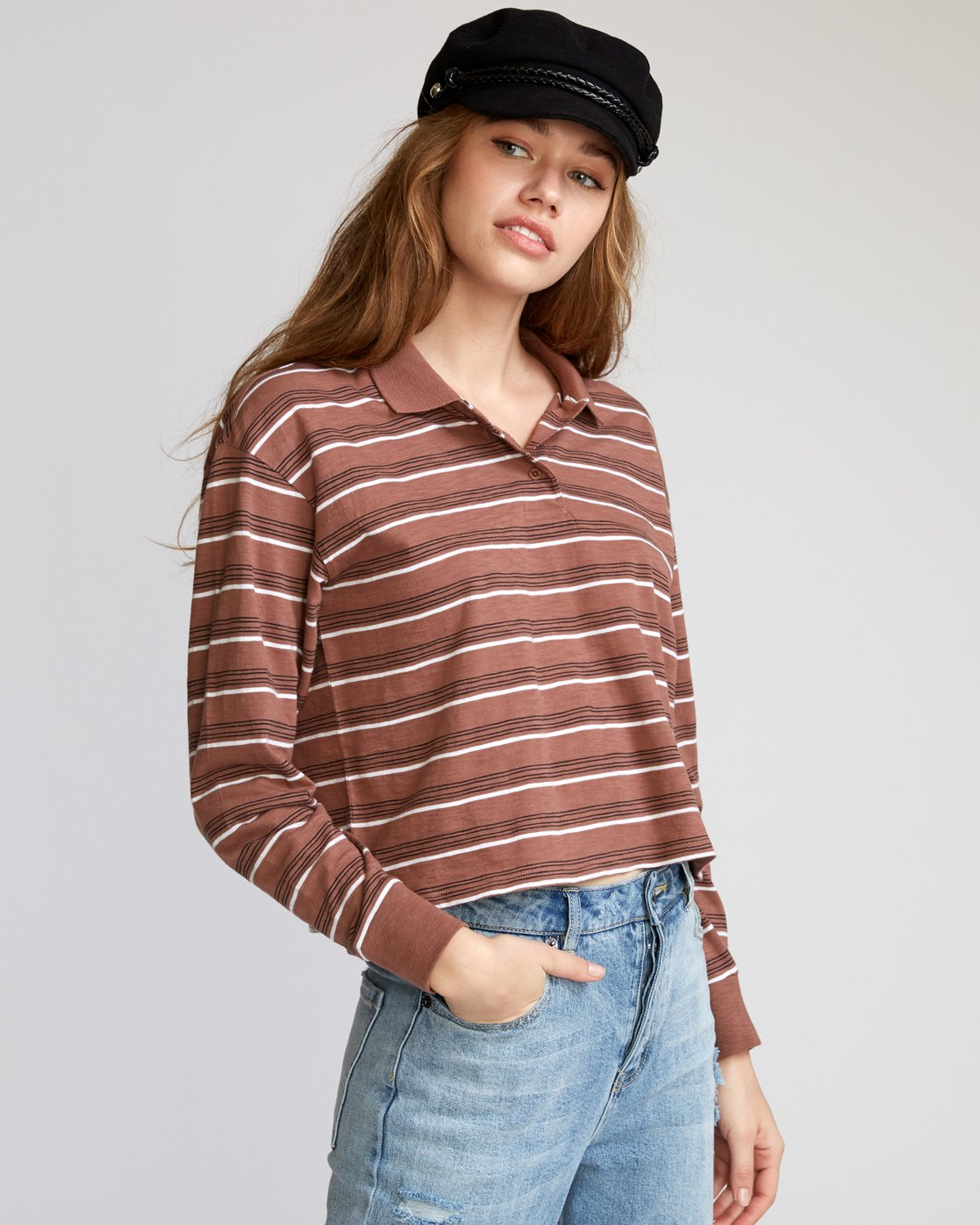 1 Junction Striped Long Sleeve Polo Brown W908VRJU RVCA
