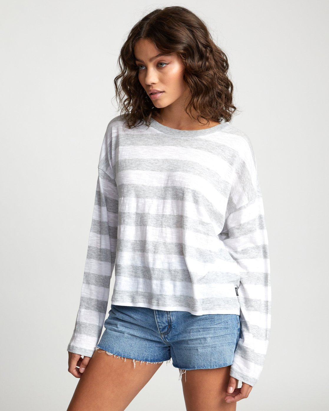 2 TALKIN CRAZY LONG SLEEVE TOP Grey W9093RTA RVCA