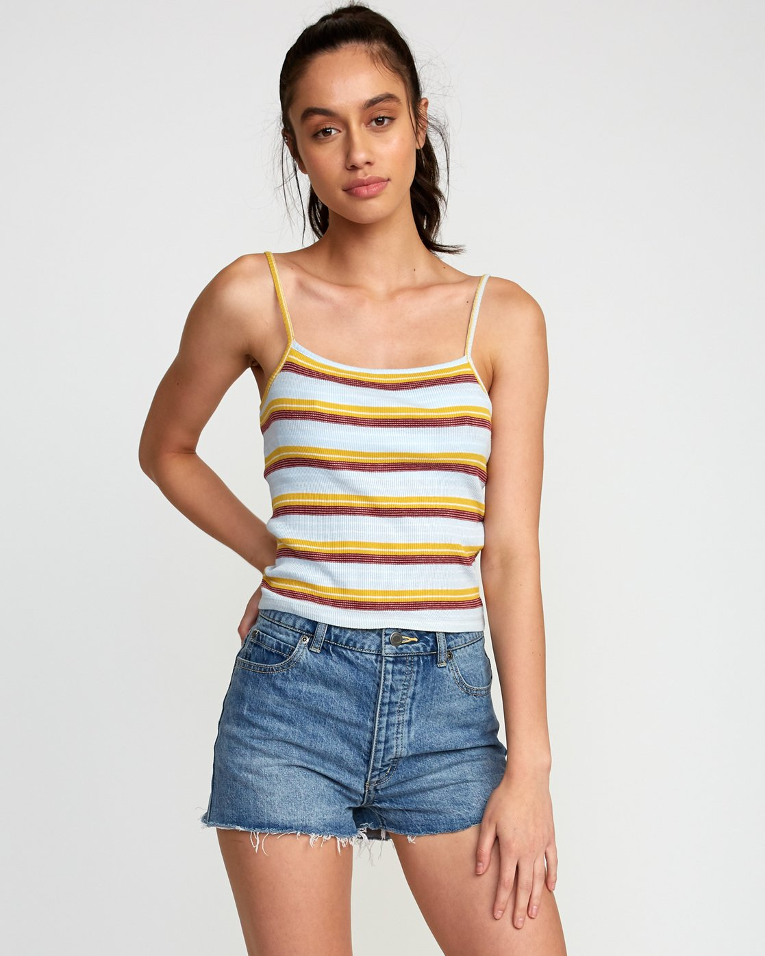1 Tally Striped Cami Tank Top Multicolor W982TRTL RVCA