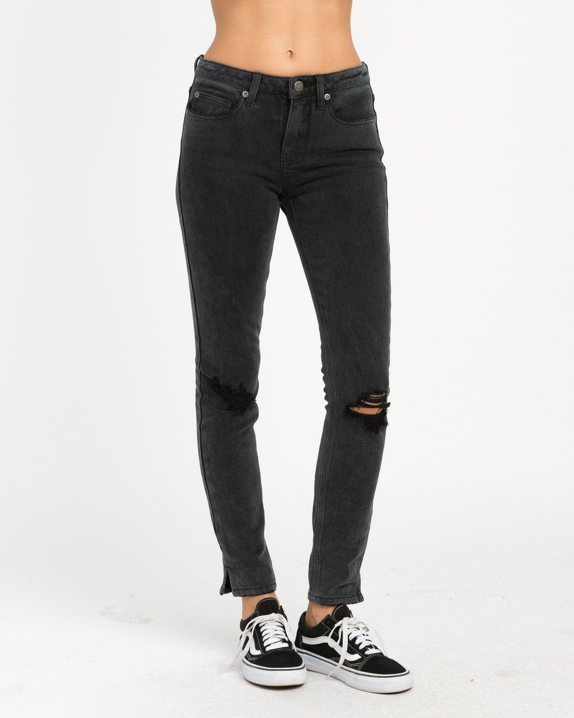 1 Dayley Mid Rise Denim Jeans Black WCDP02DA RVCA