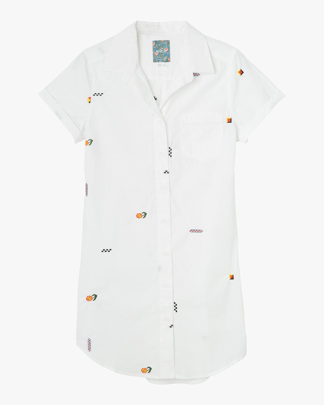 4 Luke Pelletier Ditz Embroidered Shirt Dress White WD01NRDI RVCA