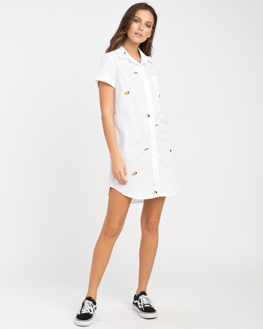 3 Luke Pelletier Ditz Embroidered Shirt Dress  WD01NRDI RVCA
