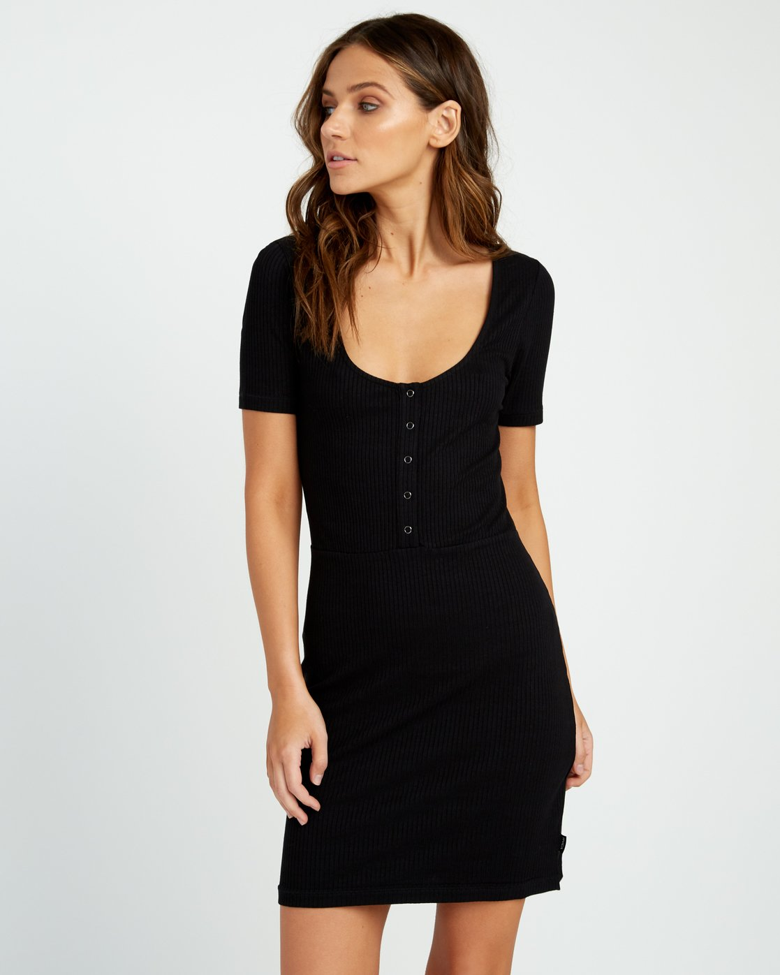 0 Go For Broke Ribbed Dress Black WD01URGO RVCA