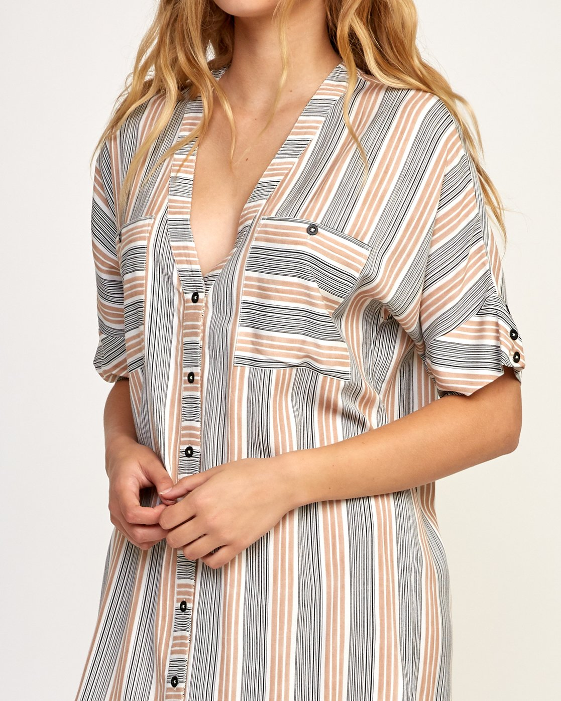 5 Circus Striped Button-Up Midi Dress Beige WD02TRCI RVCA