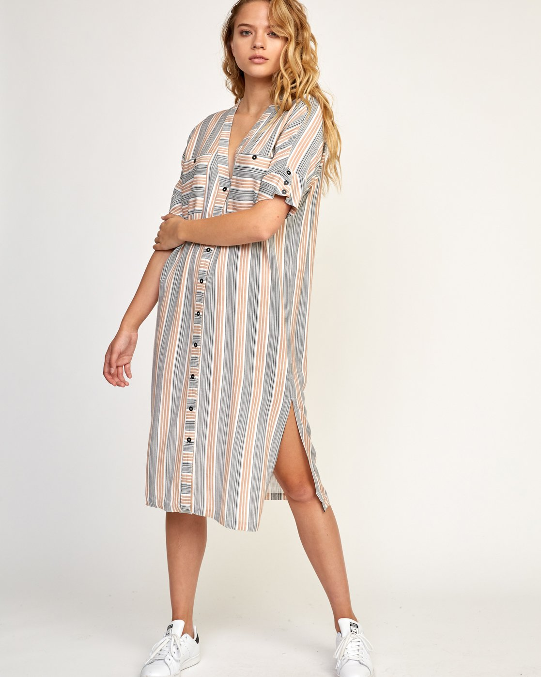 1 Circus Striped Button-Up Midi Dress Beige WD02TRCI RVCA