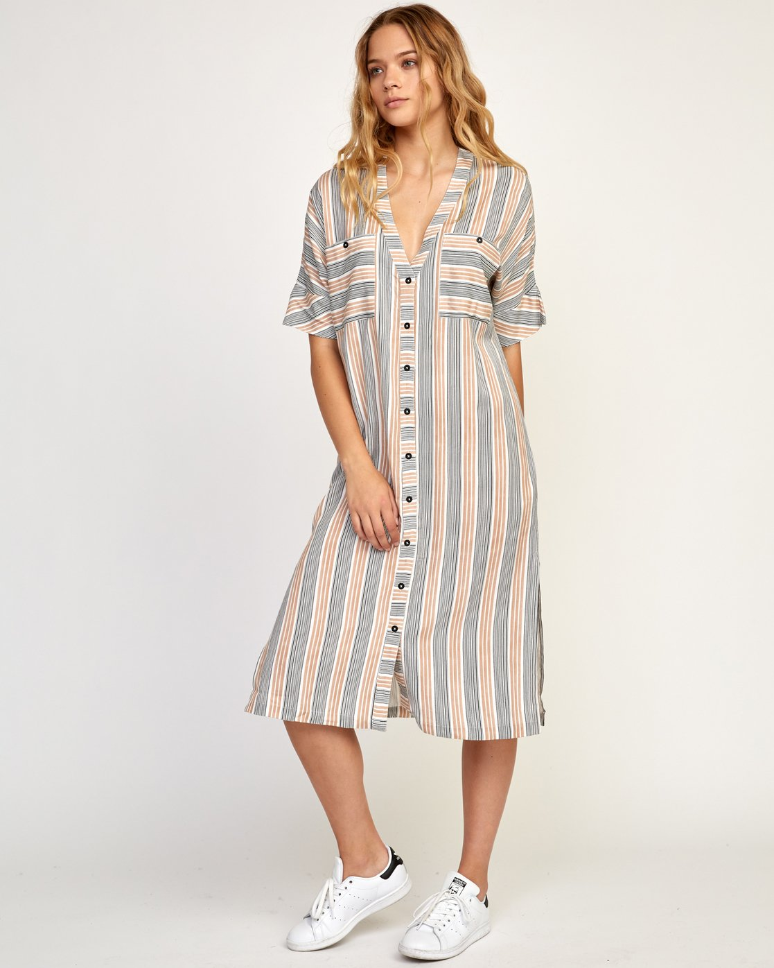 2 Circus Striped Button-Up Midi Dress Beige WD02TRCI RVCA