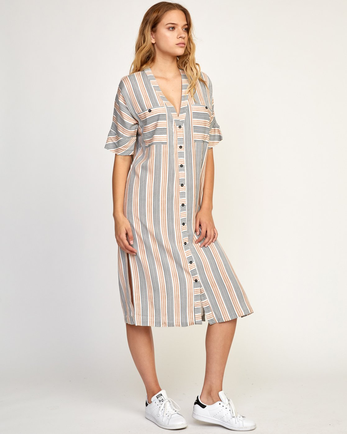 3 Circus Striped Button-Up Midi Dress Beige WD02TRCI RVCA