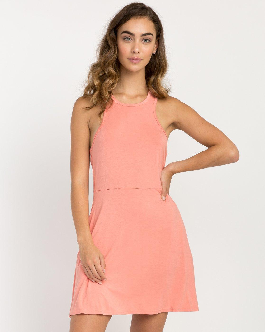 0 Iris Tank Dress Pink WD03PRIR RVCA
