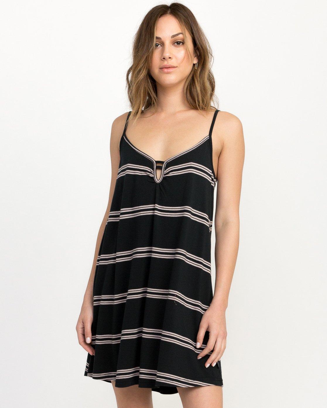 0 Downer Striped Dress Black WD03QRDO RVCA