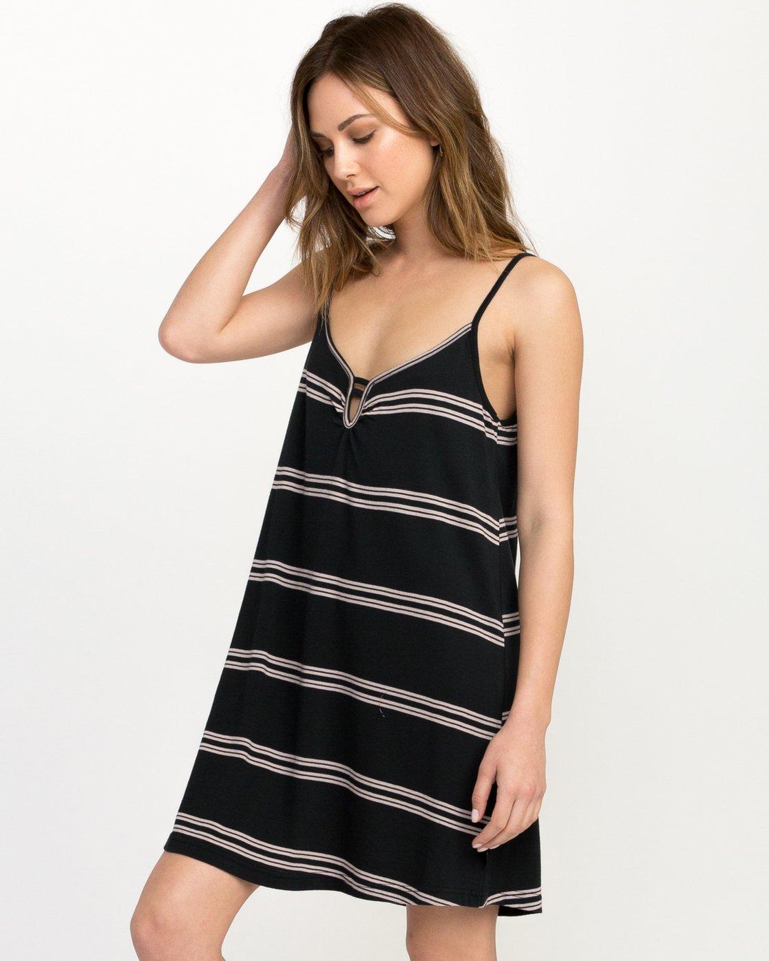1 Downer Striped Dress Black WD03QRDO RVCA