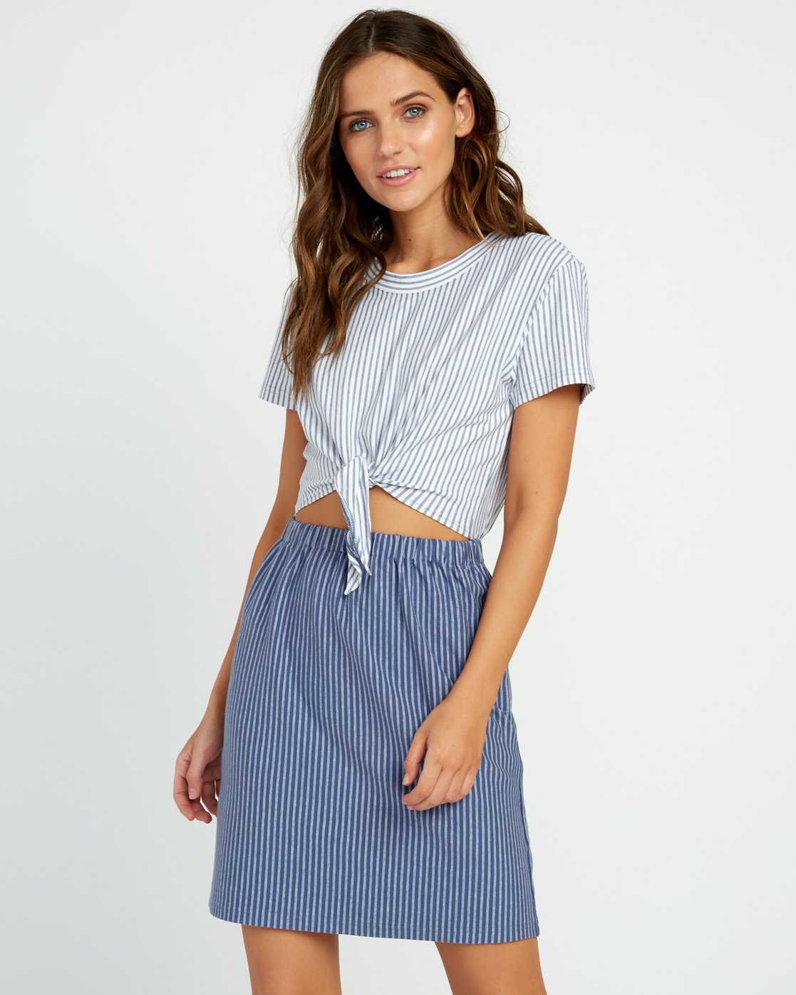 1 Fade Out Striped Knot Dress Blue WD03URFA RVCA