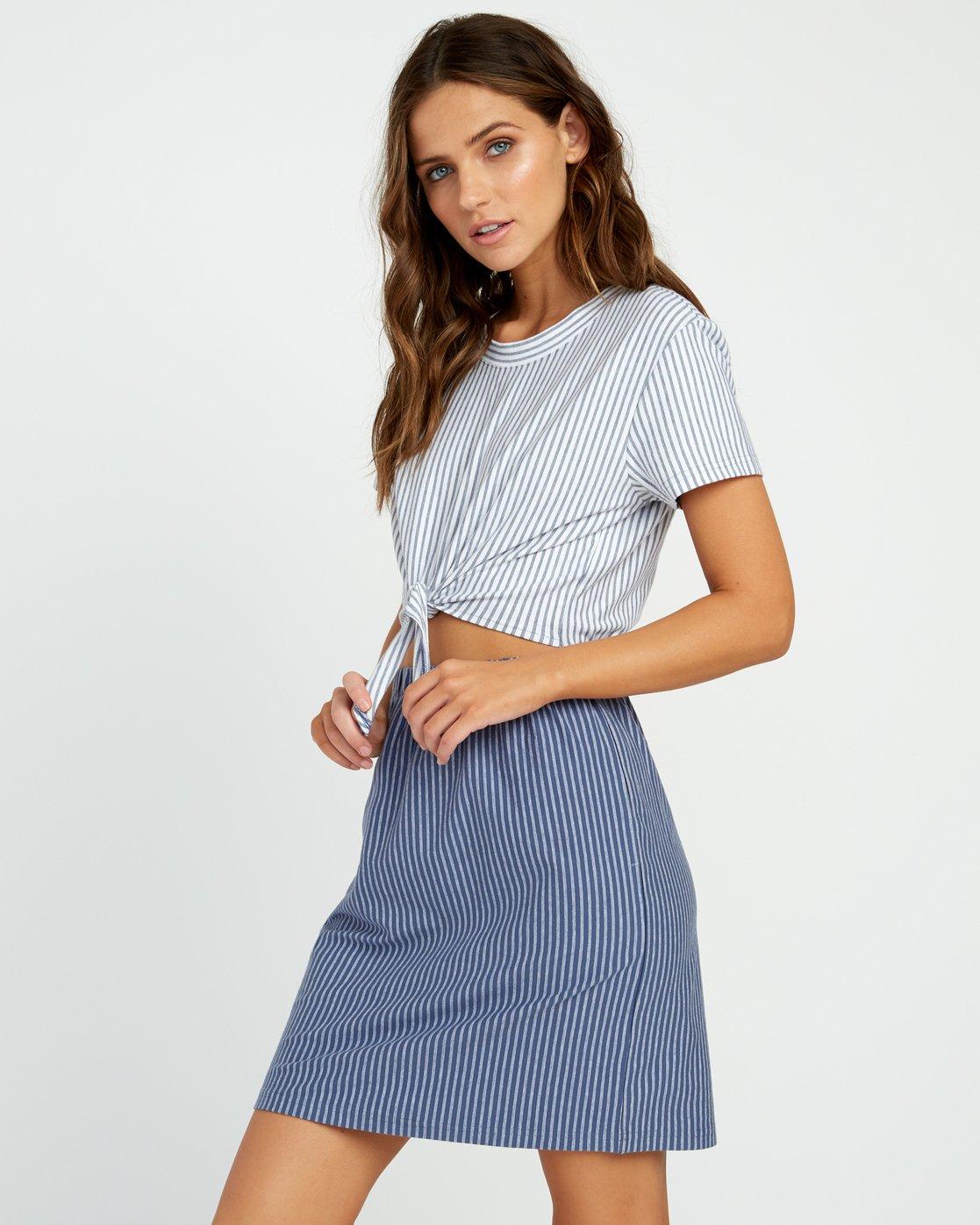 2 Fade Out Striped Knot Dress Blue WD03URFA RVCA