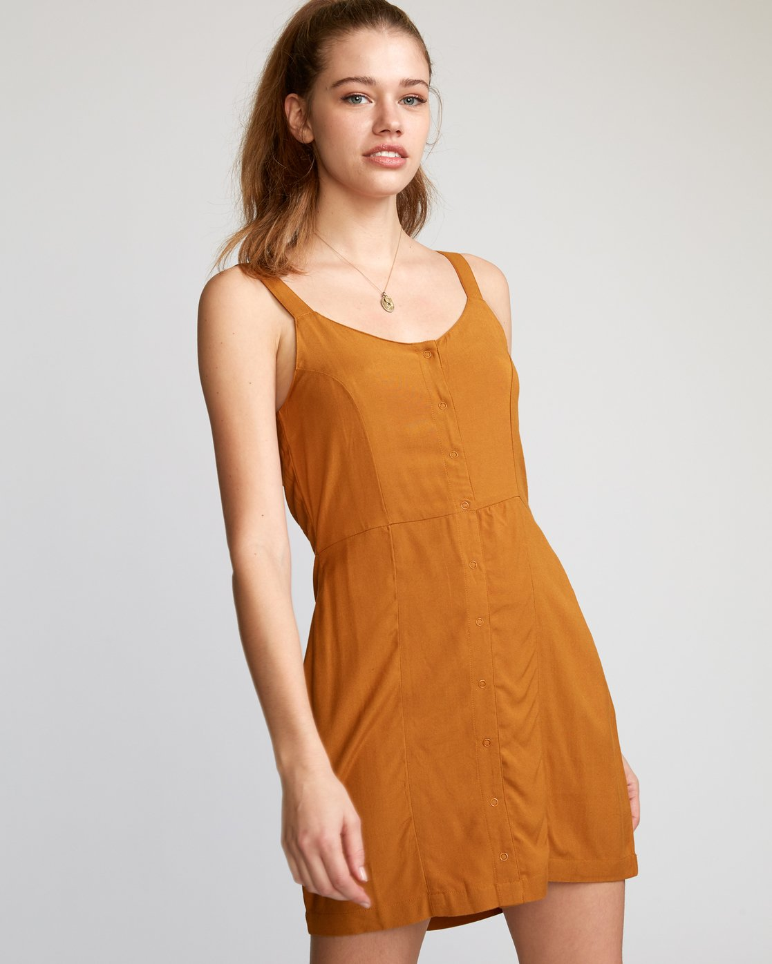 0 Upper Button-Up Dress Brown WD03VRUP RVCA