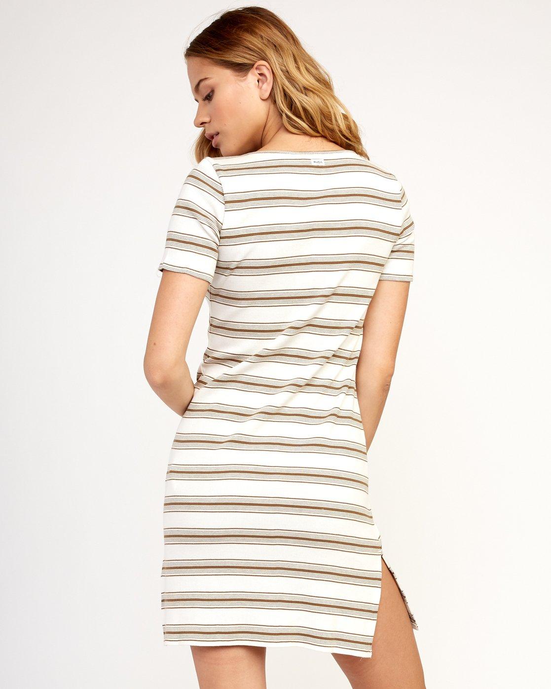 3 Vamp Striped Knit Dress Beige WD04TRVA RVCA