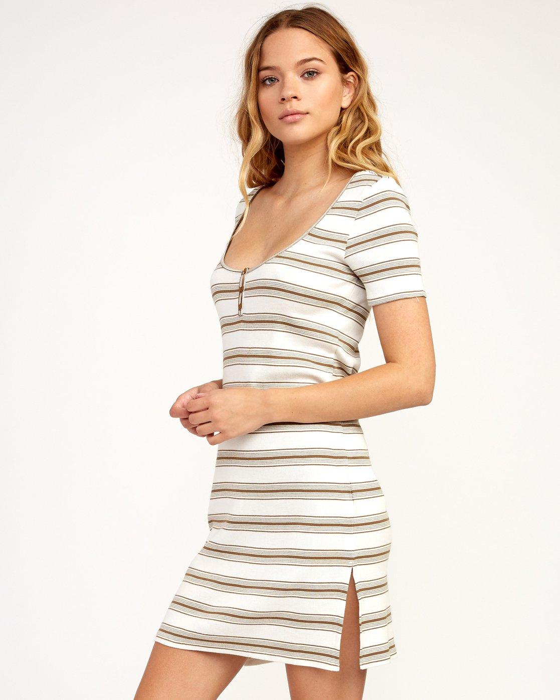 1 Vamp Striped Knit Dress Beige WD04TRVA RVCA
