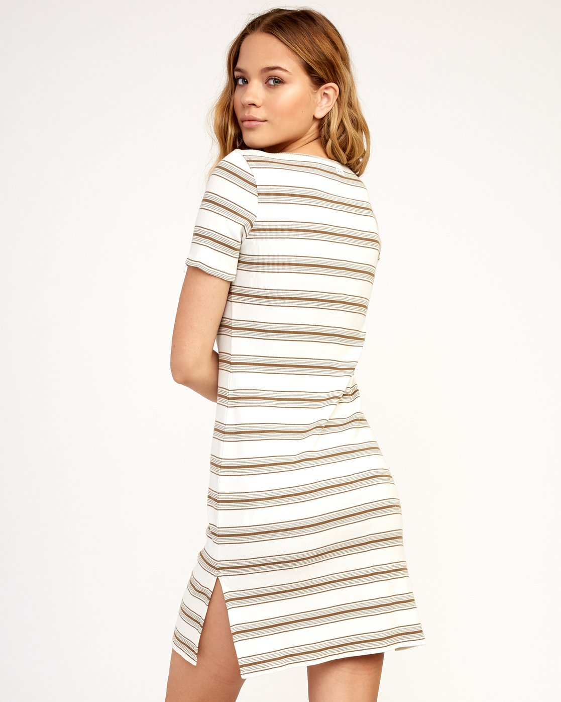 2 Vamp Striped Knit Dress Beige WD04TRVA RVCA