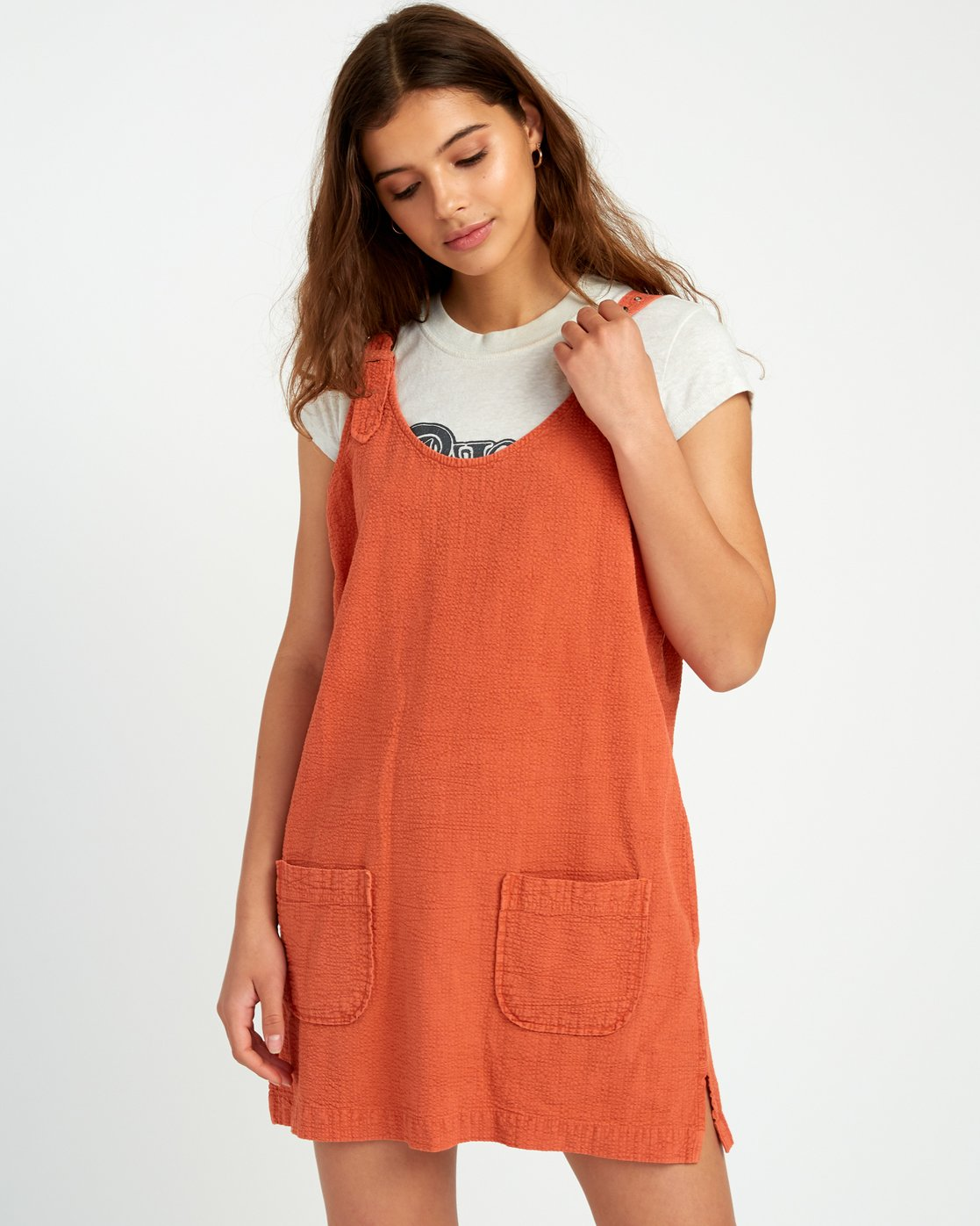 1 Teach That Textured Overall Dress Yellow WD04URTE RVCA