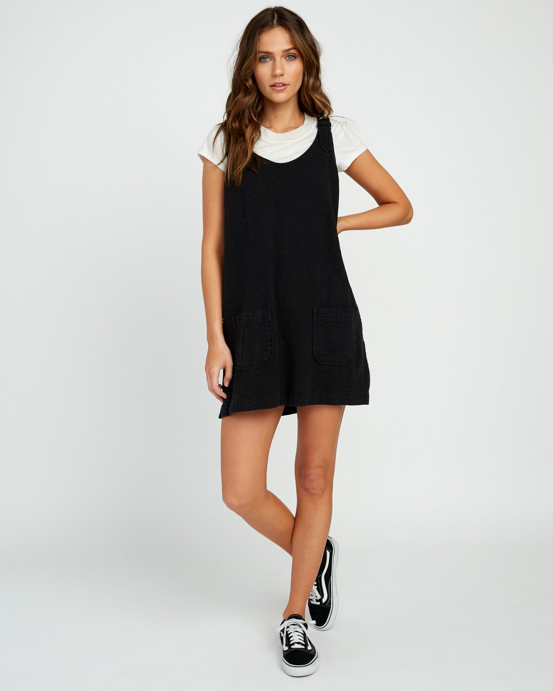0 Teach That Textured Overall Dress Black WD04URTE RVCA