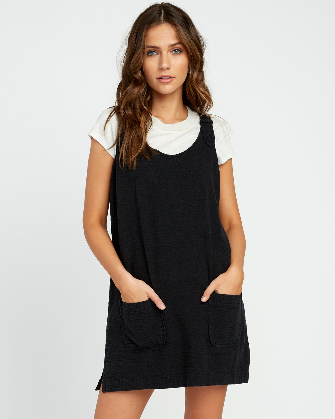 1 Teach That Textured Overall Dress Black WD04URTE RVCA
