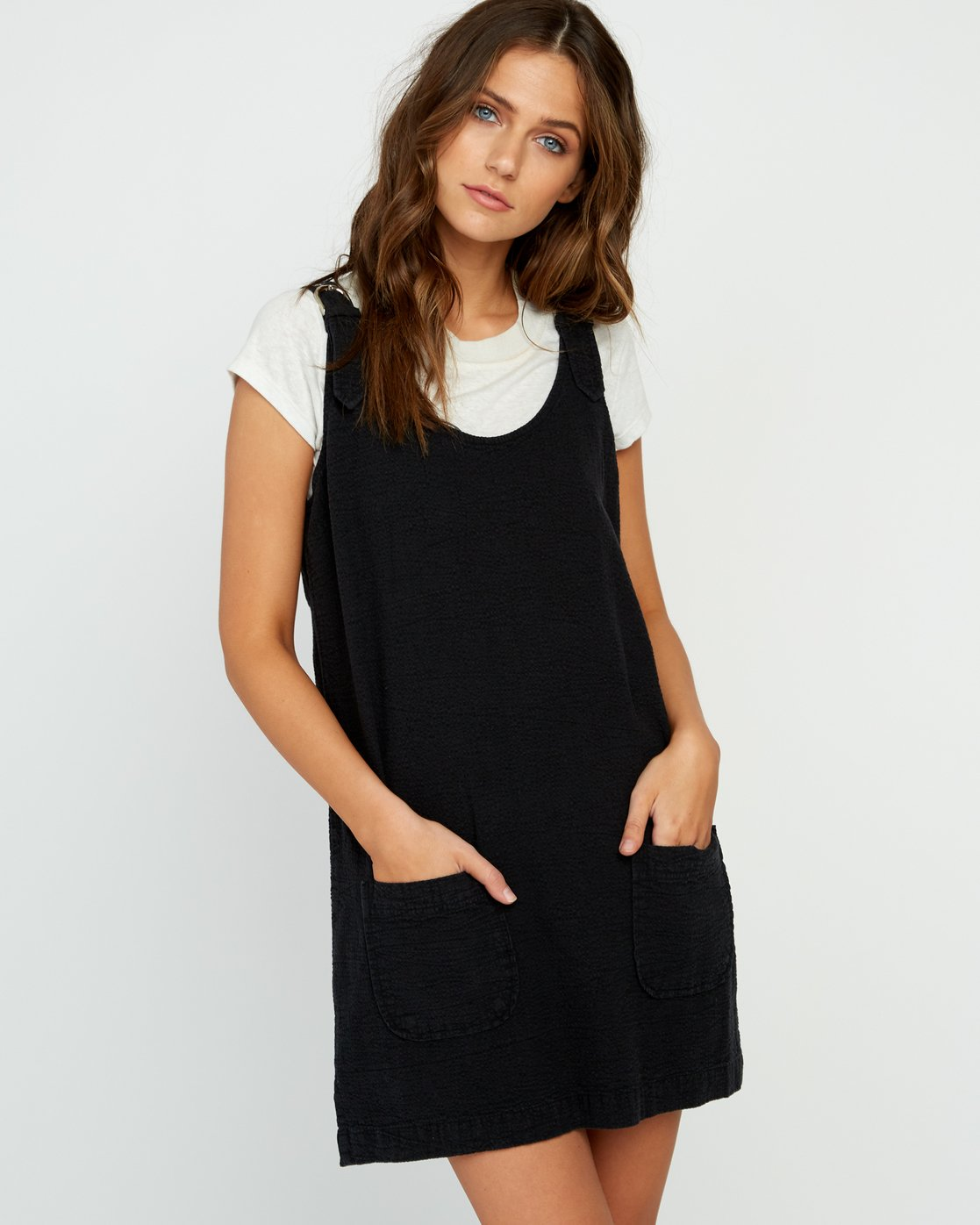 2 Teach That Textured Overall Dress Black WD04URTE RVCA