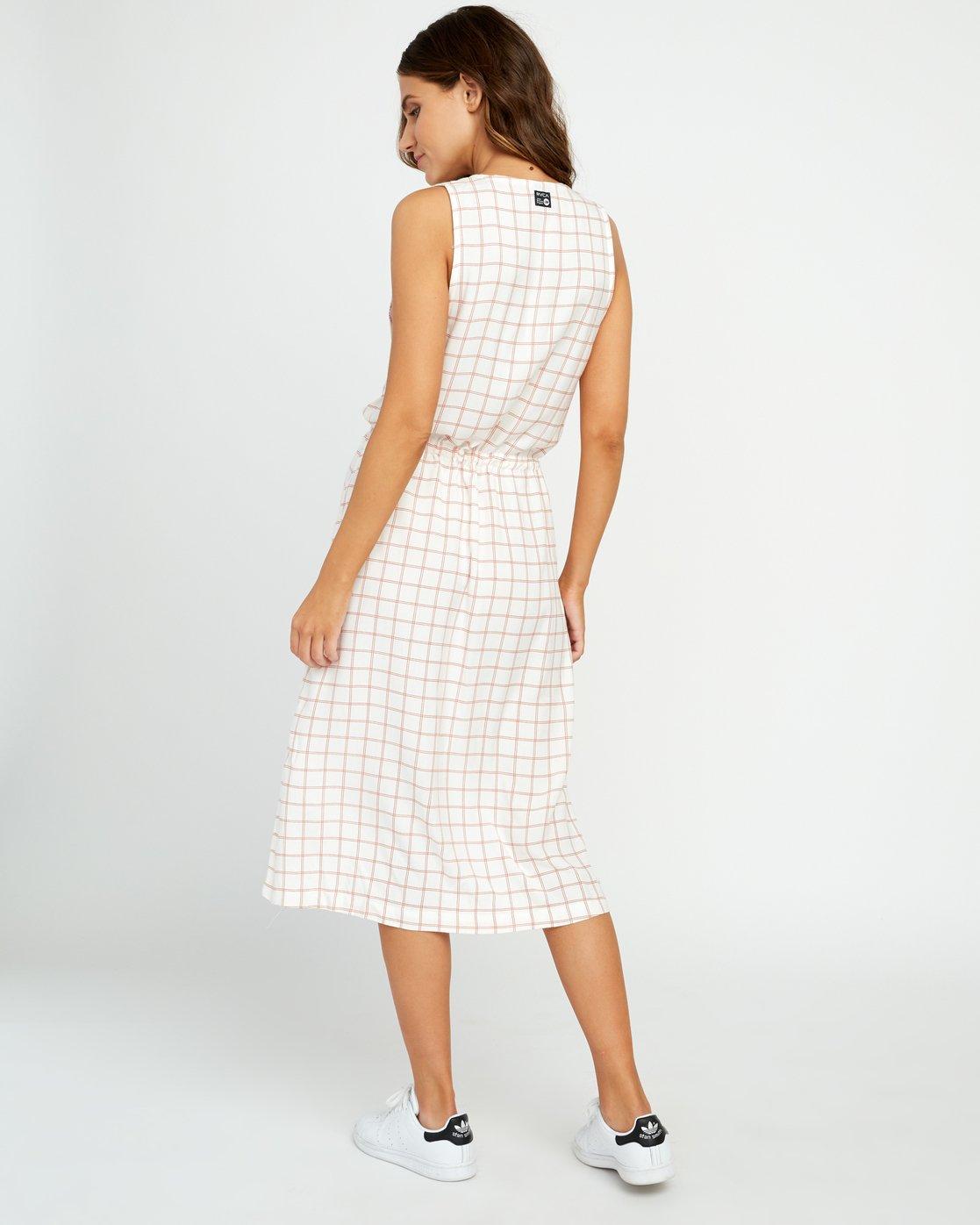 2 Kristen LW Strake Midi Dress White WD05URST RVCA