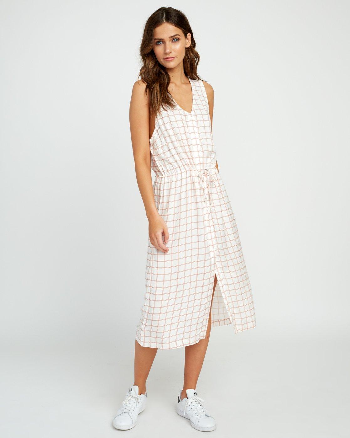 1 Kristen LW Strake Midi Dress White WD05URST RVCA