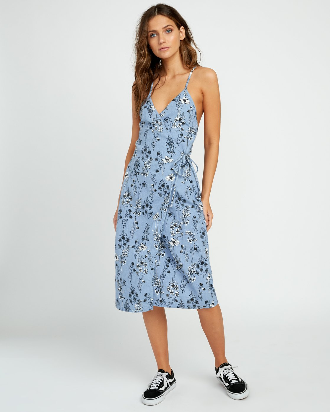 0 Kioko Floral Midi Wrap Dress  WD06URKI RVCA