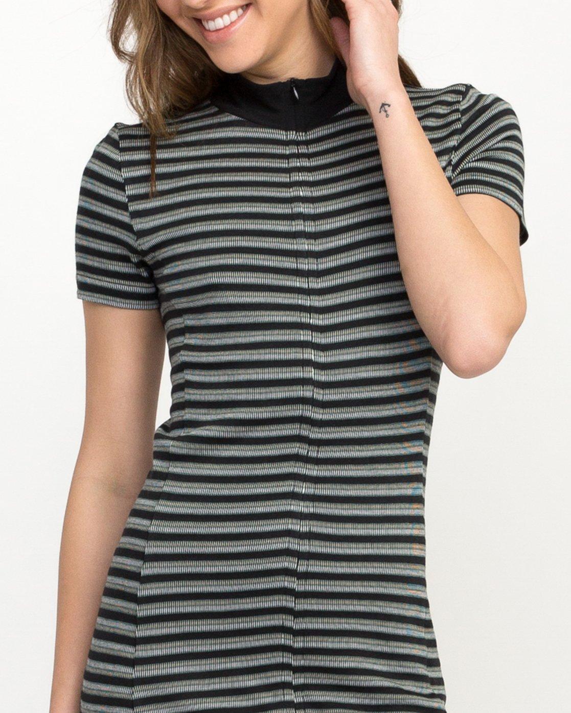 4 Shaw Striped Mock Neck Dress Black WD07QRSH RVCA