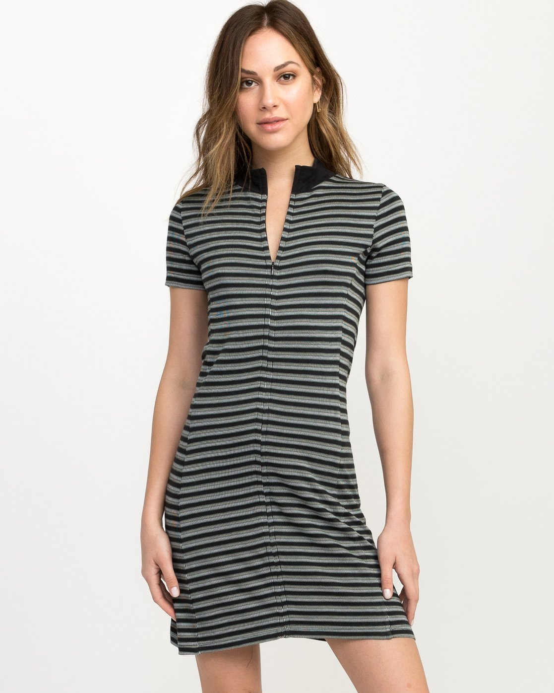 1 Shaw Striped Mock Neck Dress Black WD07QRSH RVCA