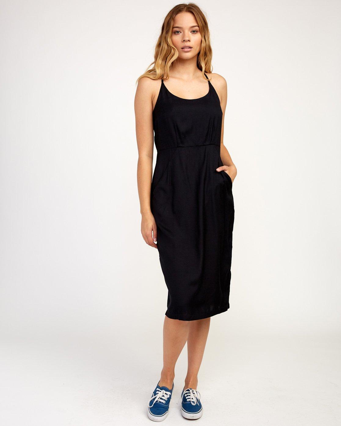 1 Cece Woven Midi Dress Black WD07TRCE RVCA