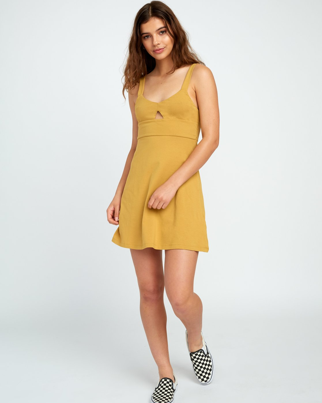 4 All Talk Knit Dress Yellow WD07URAL RVCA