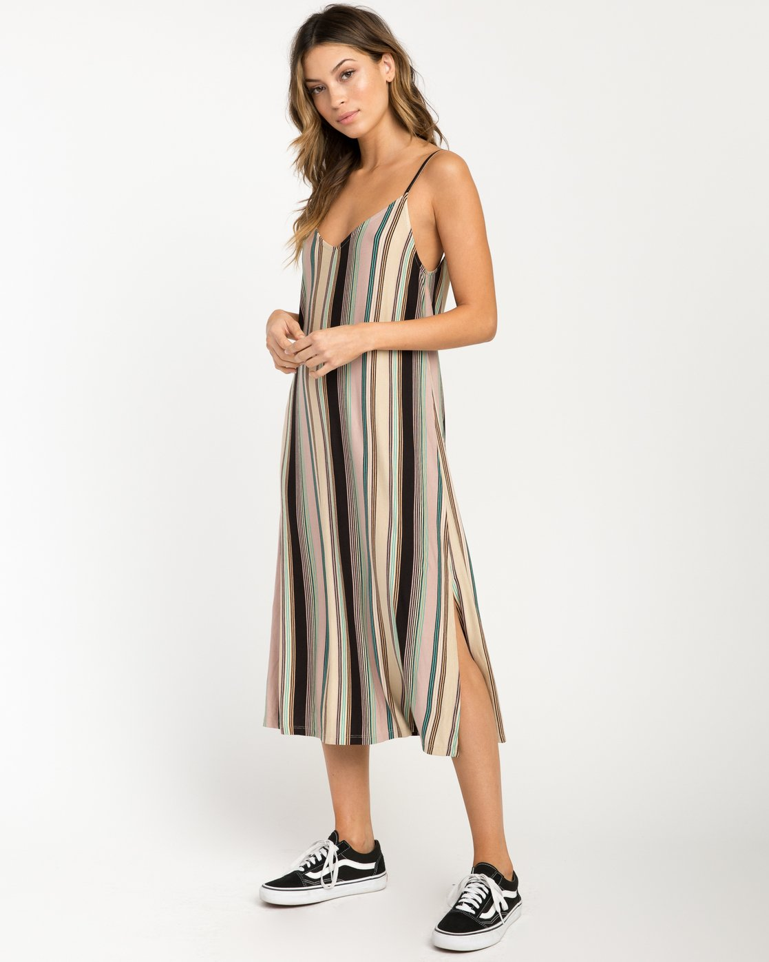 0 Jasmine Striped Midi Dress Beige WD08PRJA RVCA