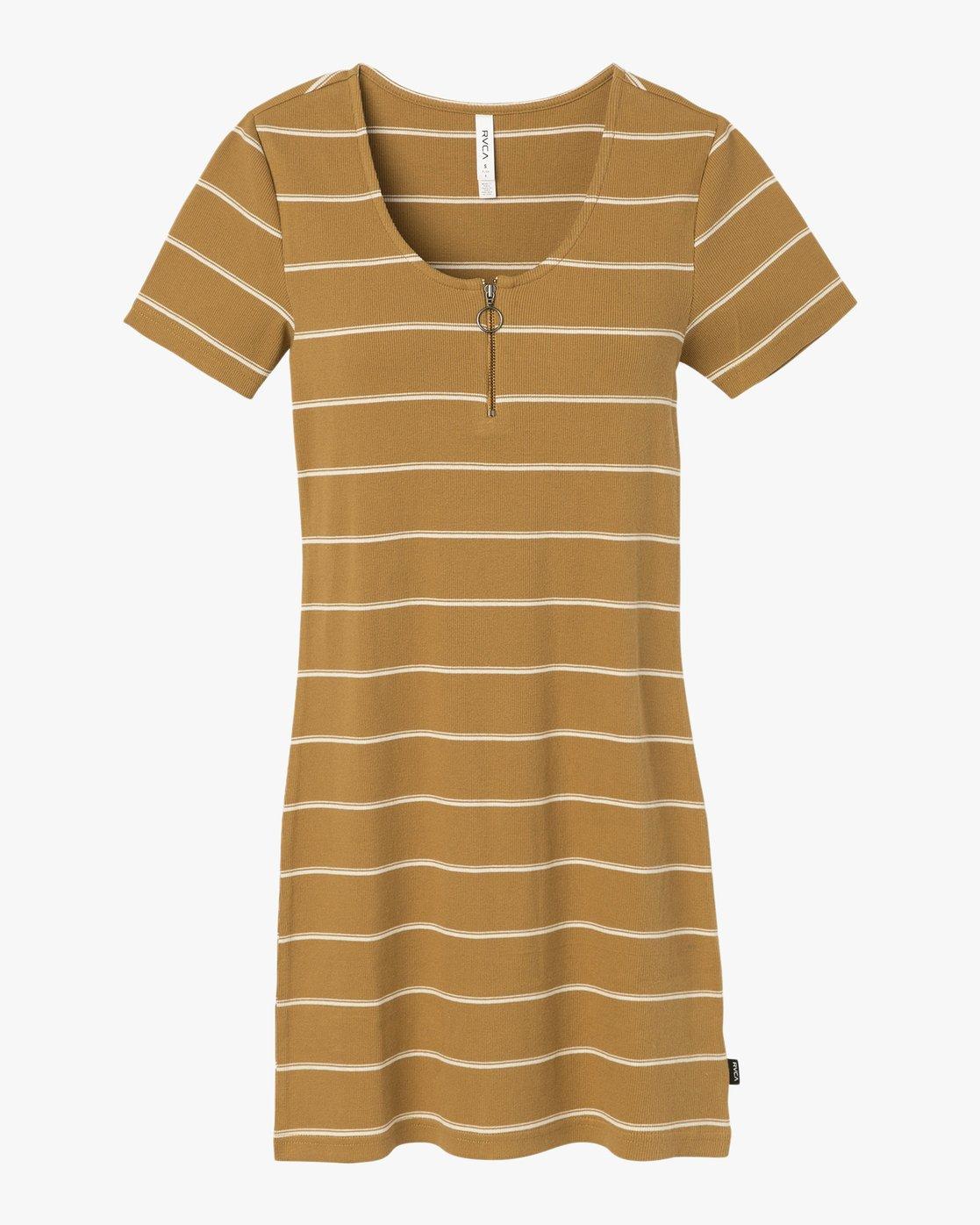 5 Donner Striped Knit Dress Yellow WD08SRDO RVCA