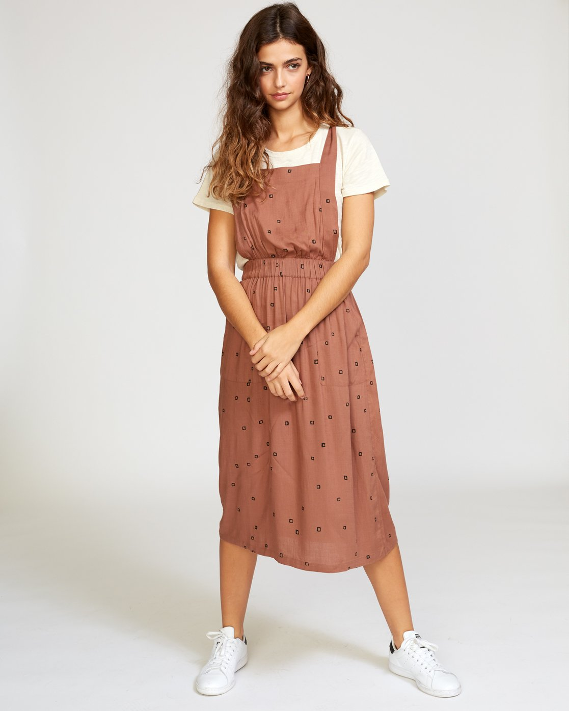 4 Sycamore Apron Midi Dress Brown WD08VRSY RVCA