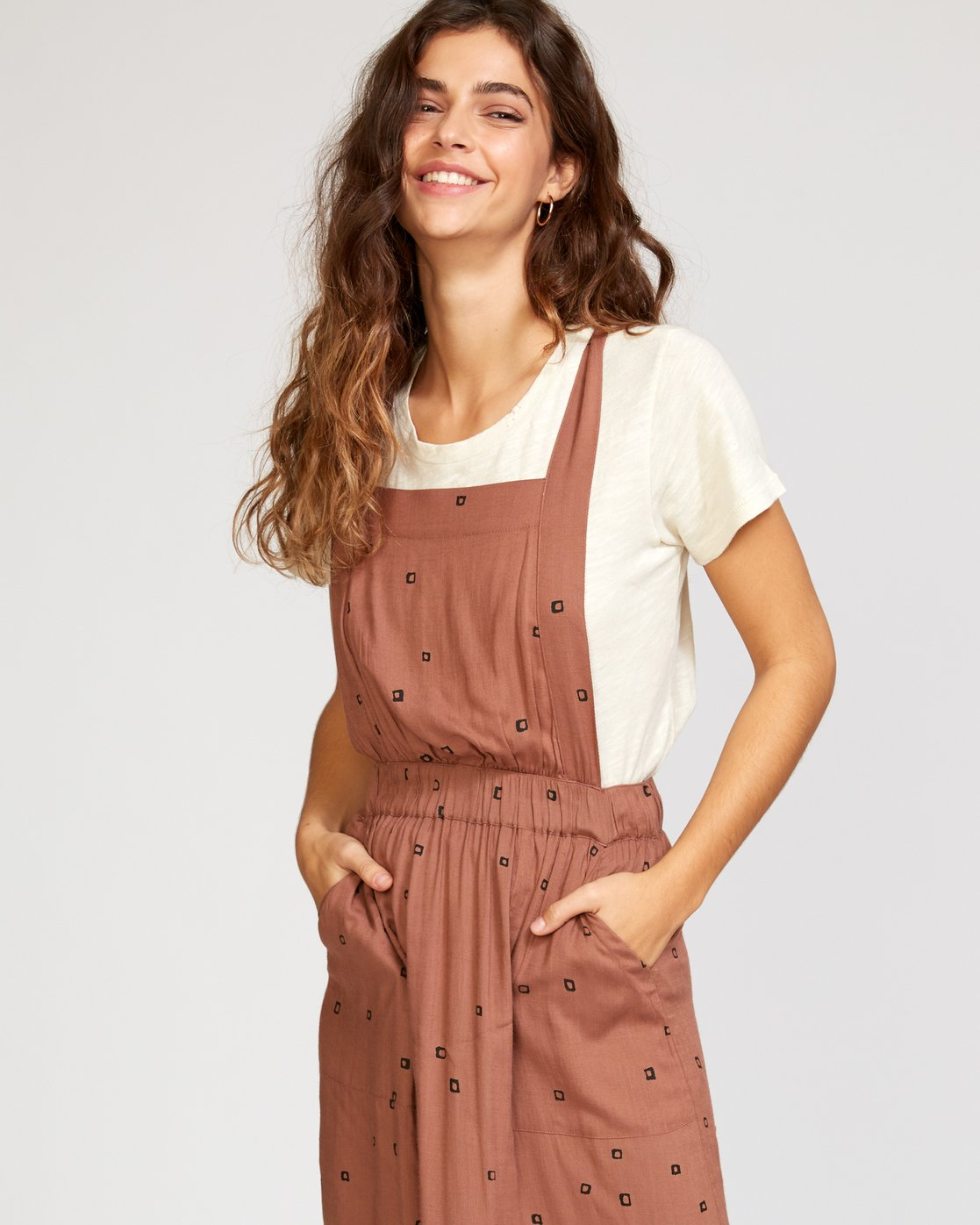 3 Sycamore Apron Midi Dress Brown WD08VRSY RVCA