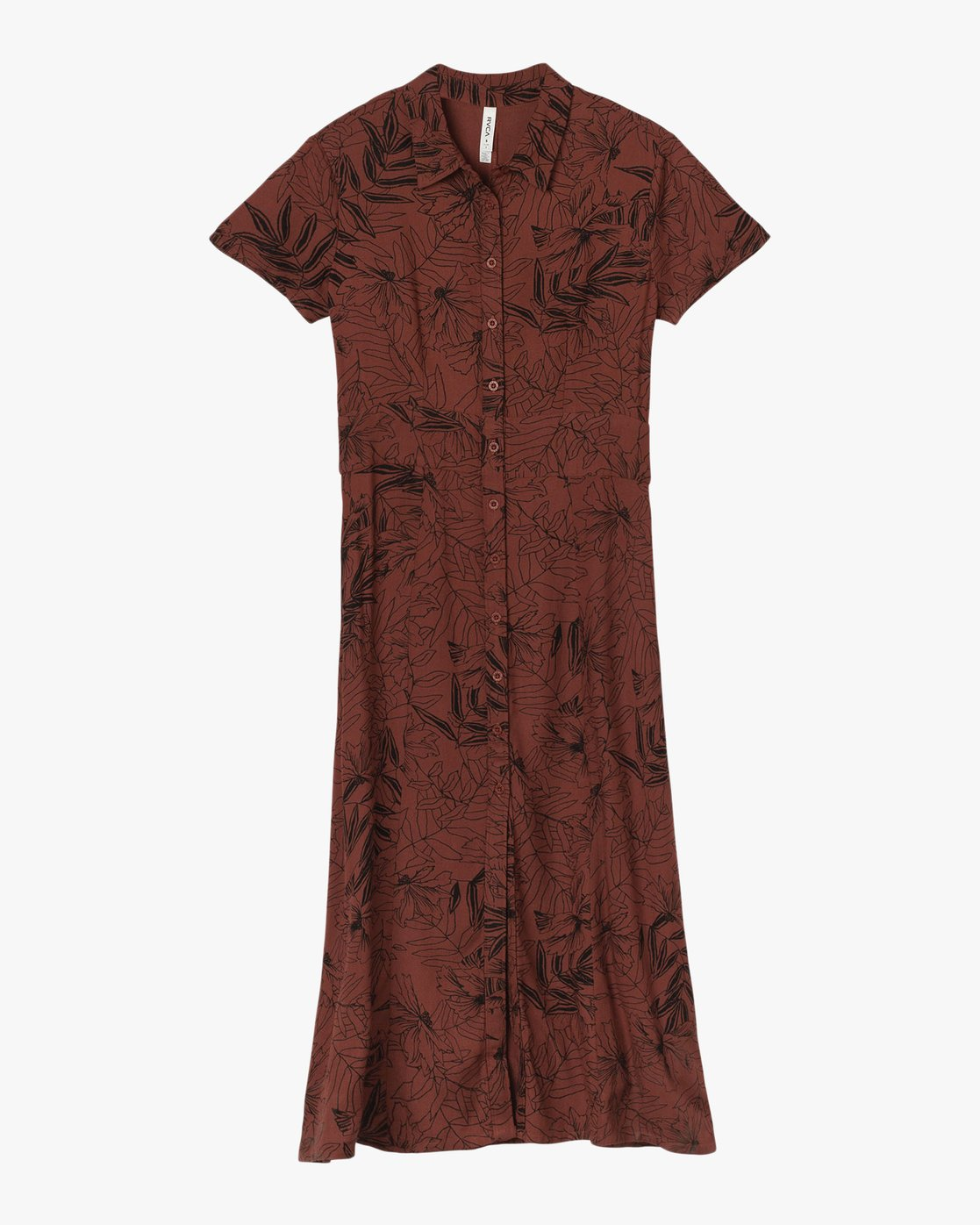 4 Caper Button-Up Maxi Dress Brown WD09QRCA RVCA