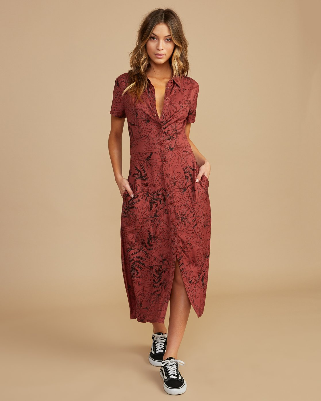 0 Caper Button-Up Maxi Dress Brown WD09QRCA RVCA