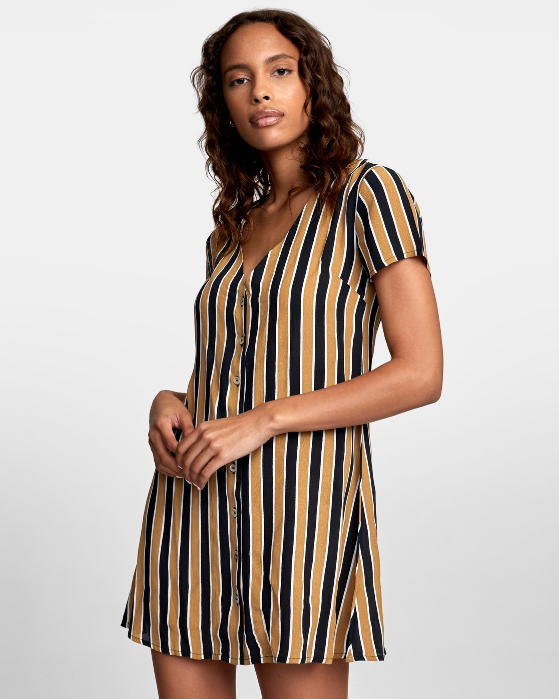 2 Pebble Button-Up Dress Black WD10VRPE RVCA