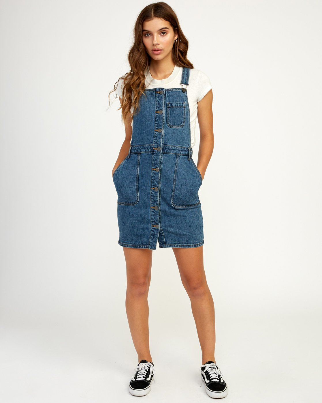 5 Conquer Denim Overall Dress Blue WD11TRCO RVCA