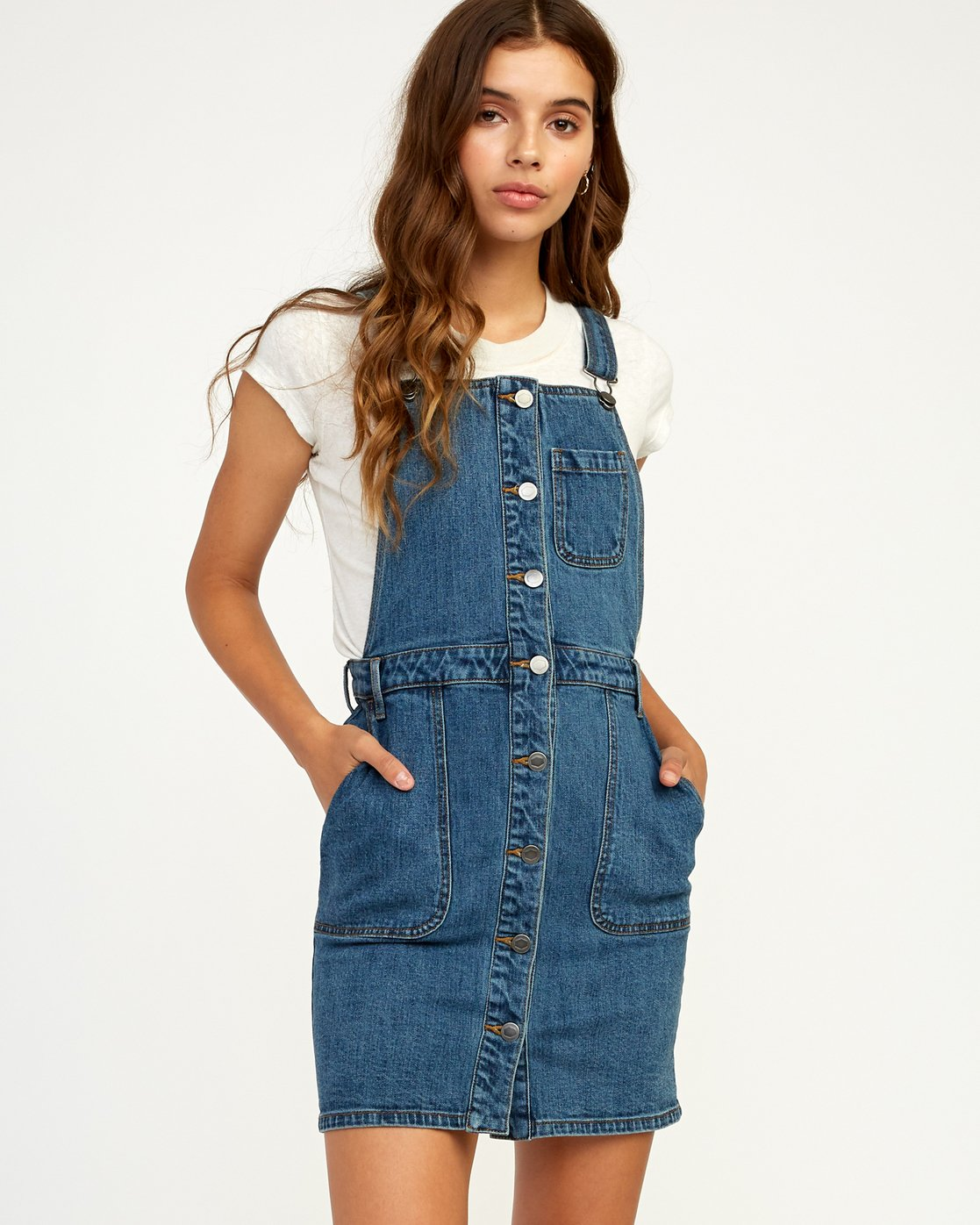 0 Conquer Denim Overall Dress Blue WD11TRCO RVCA