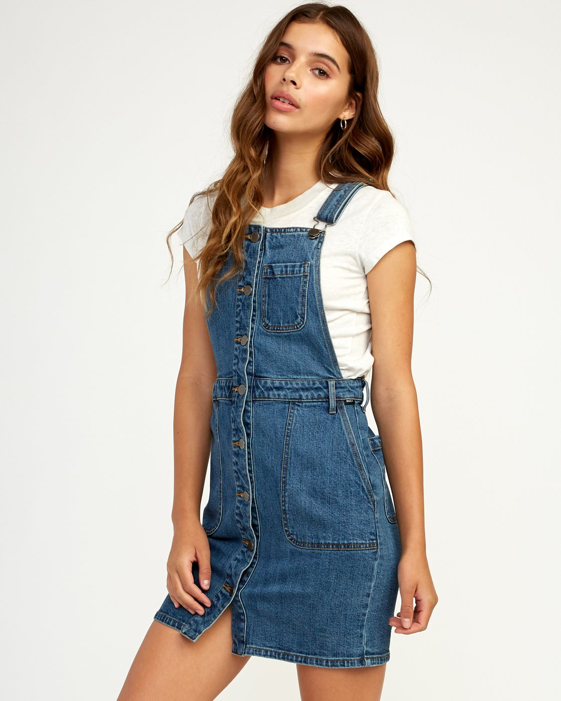 67b3cd95eee 1 Conquer Denim Overall Dress Blue WD11TRCO RVCA