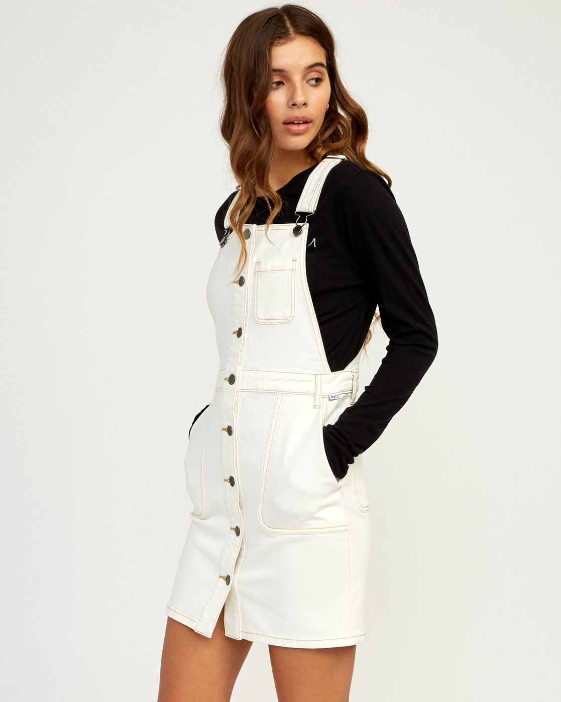 1 Conquer Denim Overall Dress White WD11TRCO RVCA
