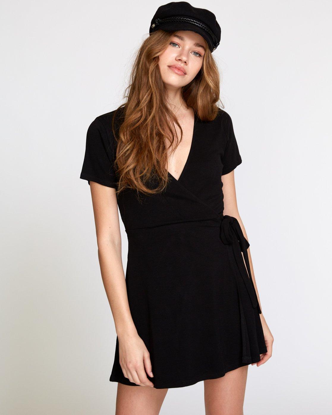 0 Slater Wrap Dress Black WD11VRSL RVCA