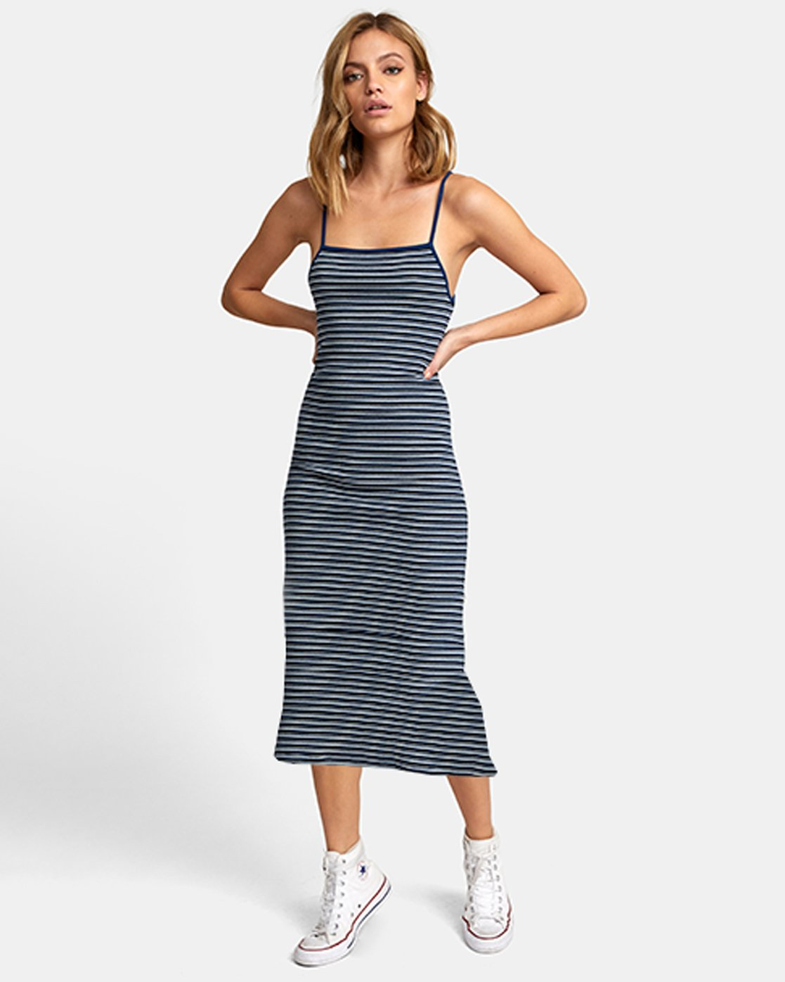 0 BIANCA STRIPED MIDI DRESS Blue WD121RBI RVCA