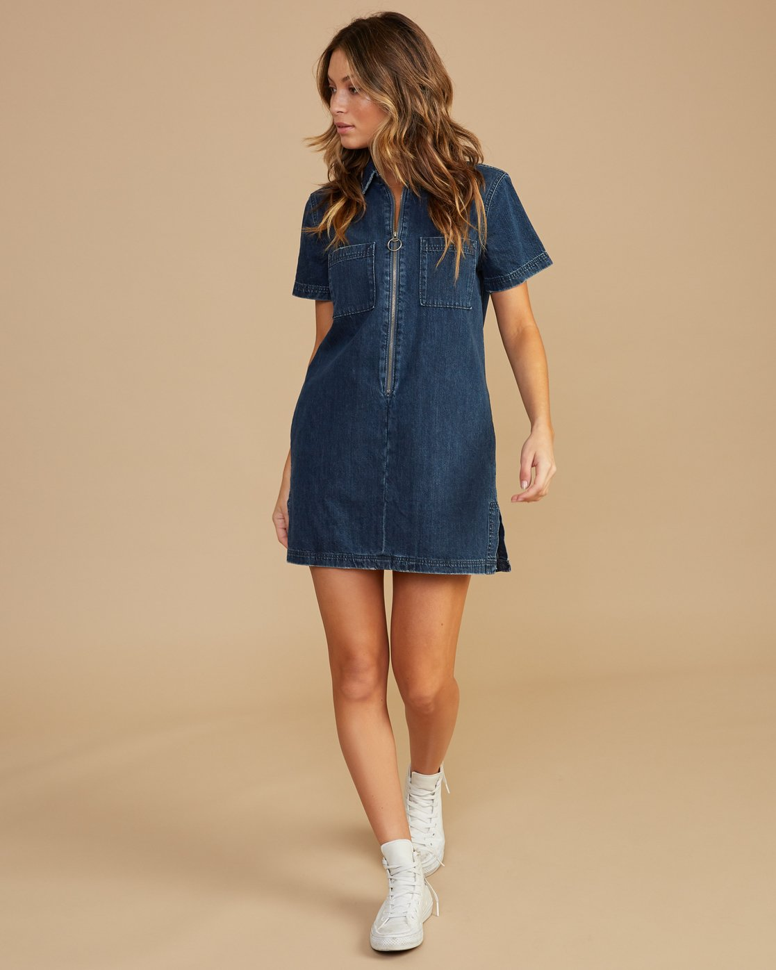 3 Handle Denim Zip Dress Blue WD12QRHA RVCA
