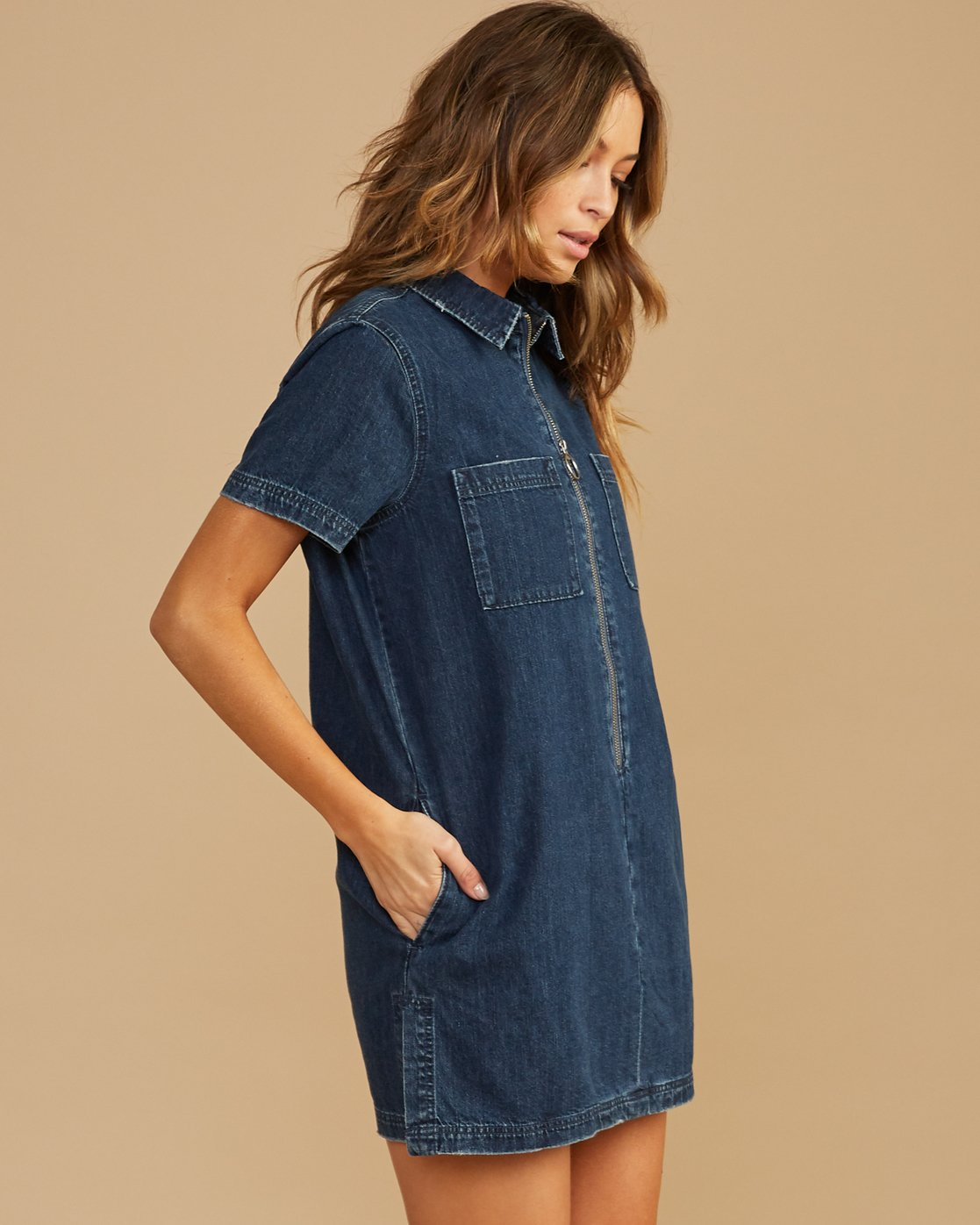 1 Handle Denim Zip Dress Blue WD12QRHA RVCA