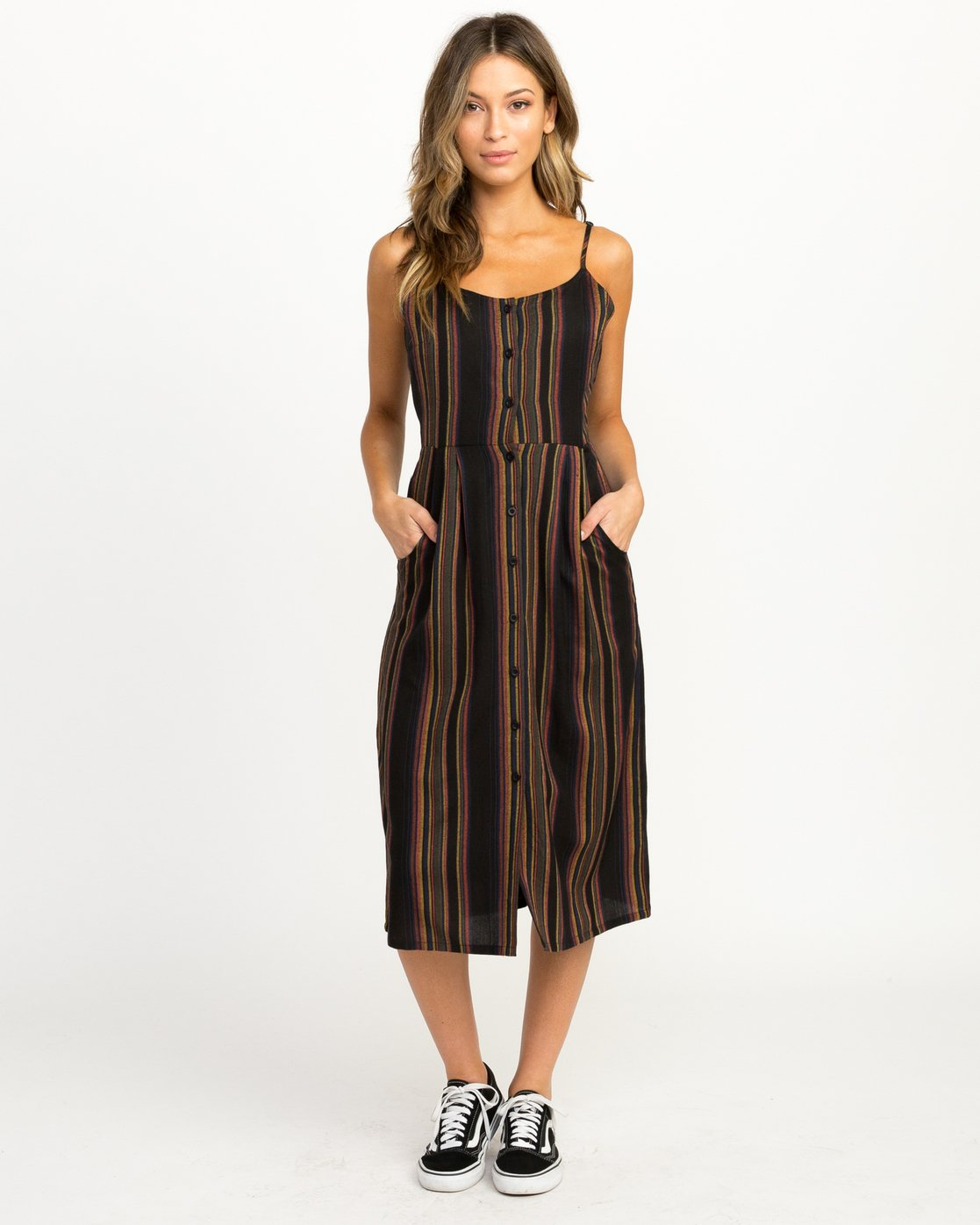 1 Medway Striped Midi Dress Black WD13QRME RVCA